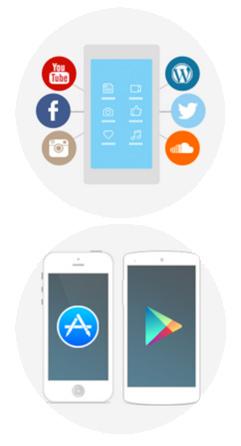 iOS und Android App mit Schnittstellen zu Inhaltsquellen