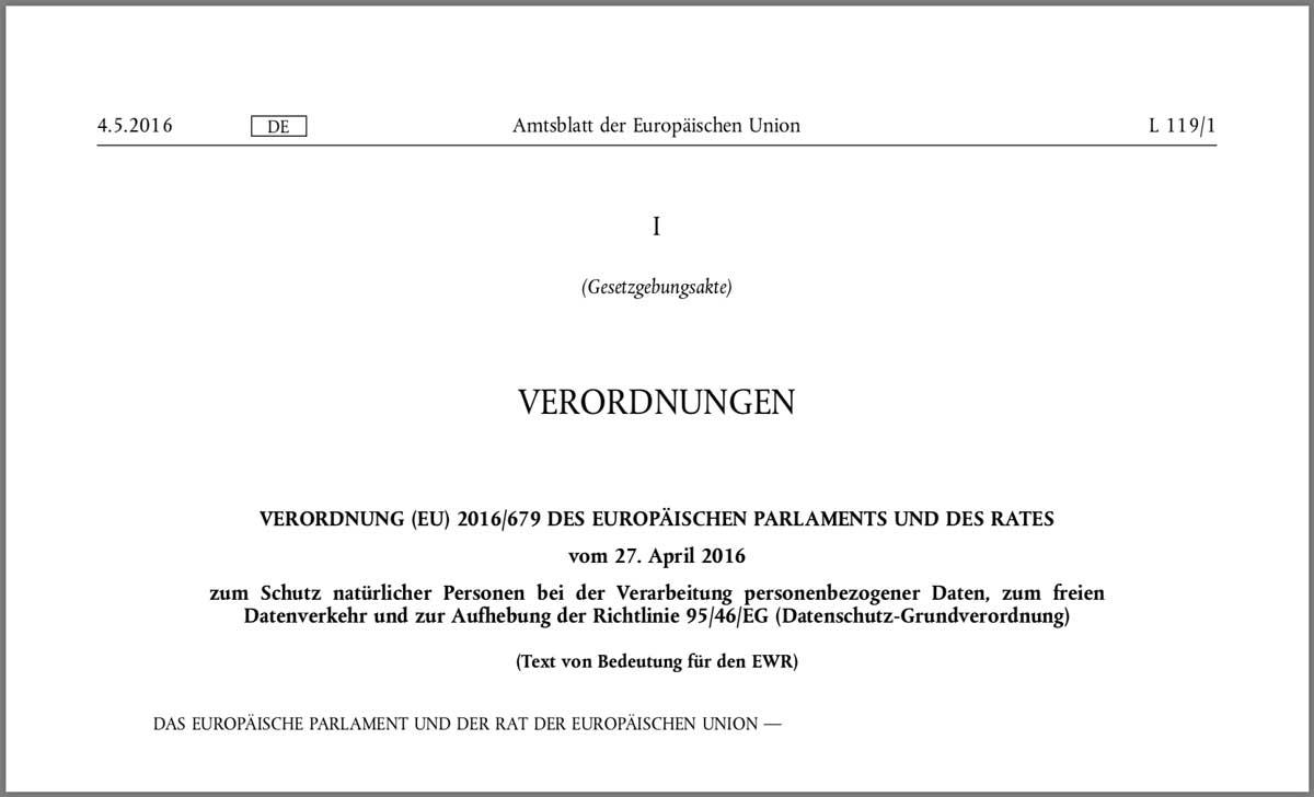 Bild vom Deckblatt der EU-Datenschutz-Grundverordnung (DSGVO)